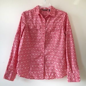 Eddie Bauer Coral Peach Roll Tab Button Down Sz Sm